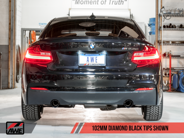 AWE Tuning BMW F22 M235i / M240i Touring Edition Axle-Back Exhaust - Diamond Black Tips (102mm)