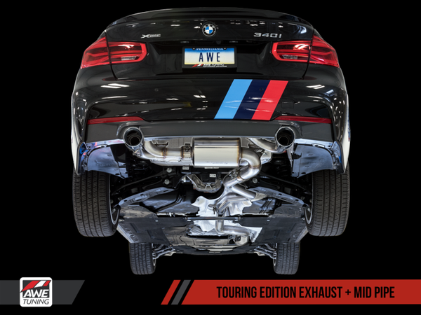 AWE Tuning BMW F3X 340i Touring Edition Axle-Back Exhaust - Diamond Black Tips (102mm)