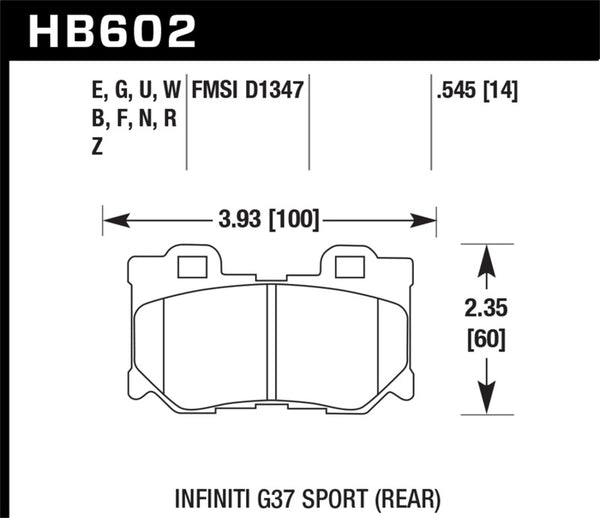 Hawk 10-11 Infiniti FX50 / 09-10 G37 / 09-10 Nissan 370Z DTC-60 Race Rear Brake Pads
