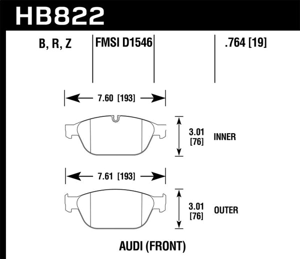 Hawk 12-17 Audi A8 Quattro / 14-17 Audi SQ5 Performance Ceramic Street Front Brake Pads