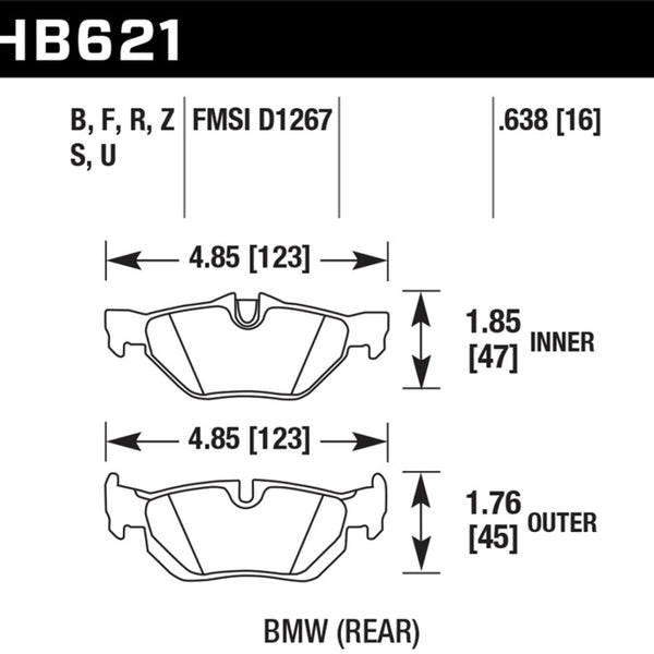 Hawk 2011-2011 BMW 125i HPS 5.0 Rear Brake Pads