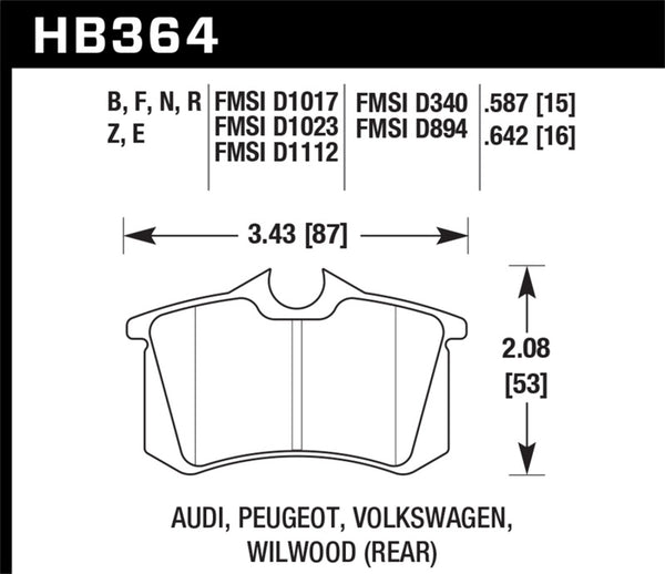 Hawk 88-92 VW Golf GTI / 87-88 Scirocco Blue 9012 Race Rear Brake Pads