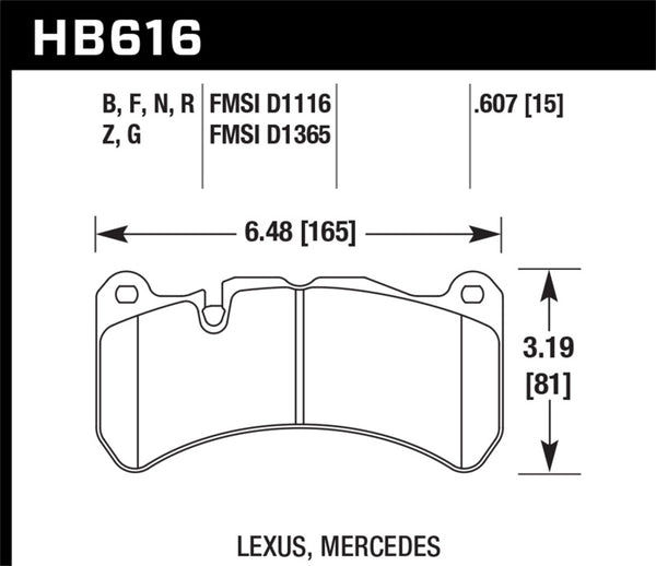 Hawk 08-11 Lexus IS-F / 05-06 M Benz CLK55 AMG / 07-08 CLK63 AMG DTC-60 Race Front Brake Pads