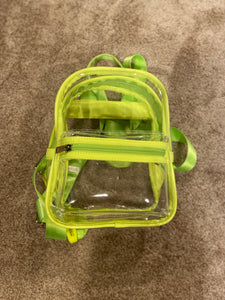 Clear Back Pack - Neon Green Trim