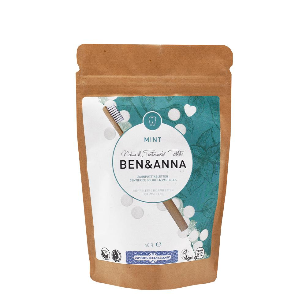 Ben & Anna Toothpaste Tablets - Mint fluoride free 40g-Just Beauty Organics Store