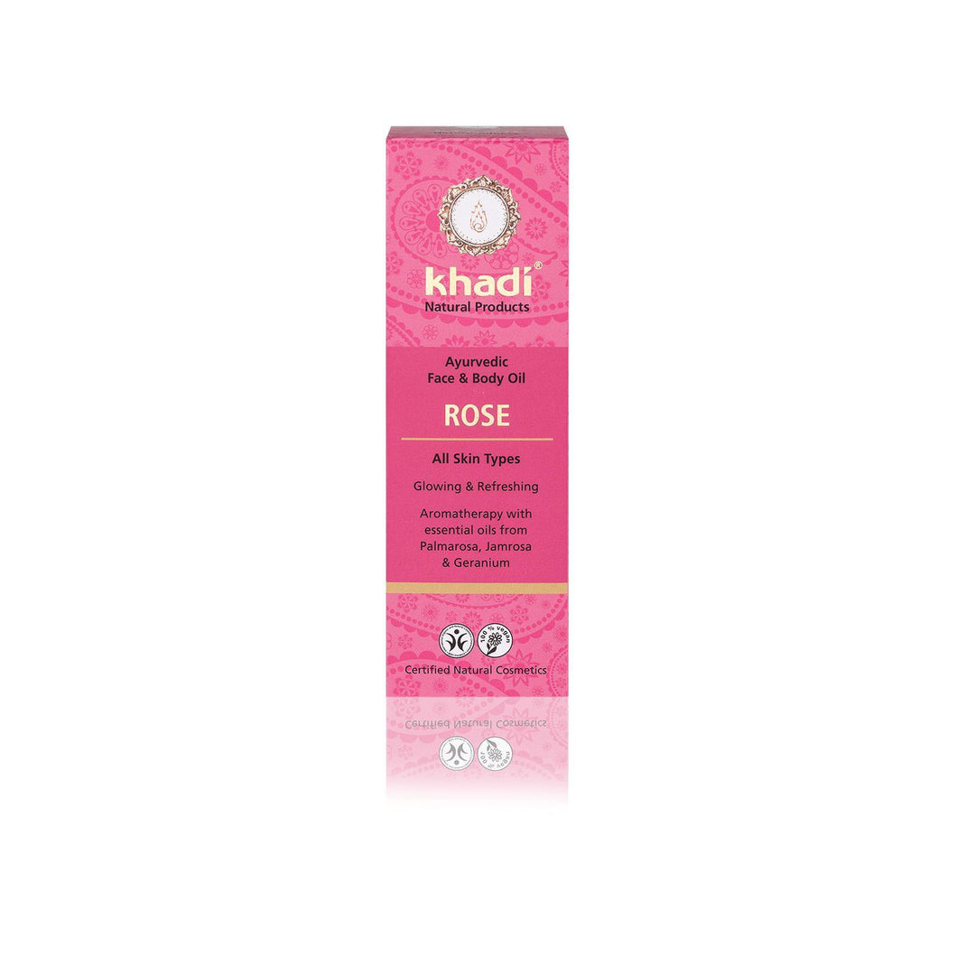 Khadi Organic Ayurvedic Face and Body Oil - Rose for All Skin Types 100ml-Just Beauty Organics Store