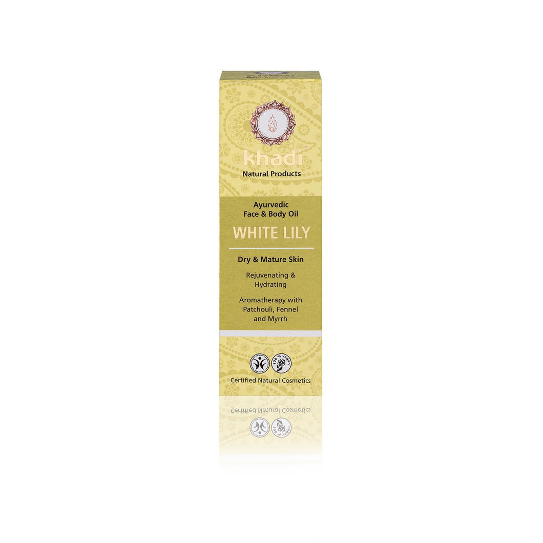 Khadi Organic Ayurvedic Face and Body Oil - White Lily for Dry & Mature Skin 100ml-Just Beauty Organics Store