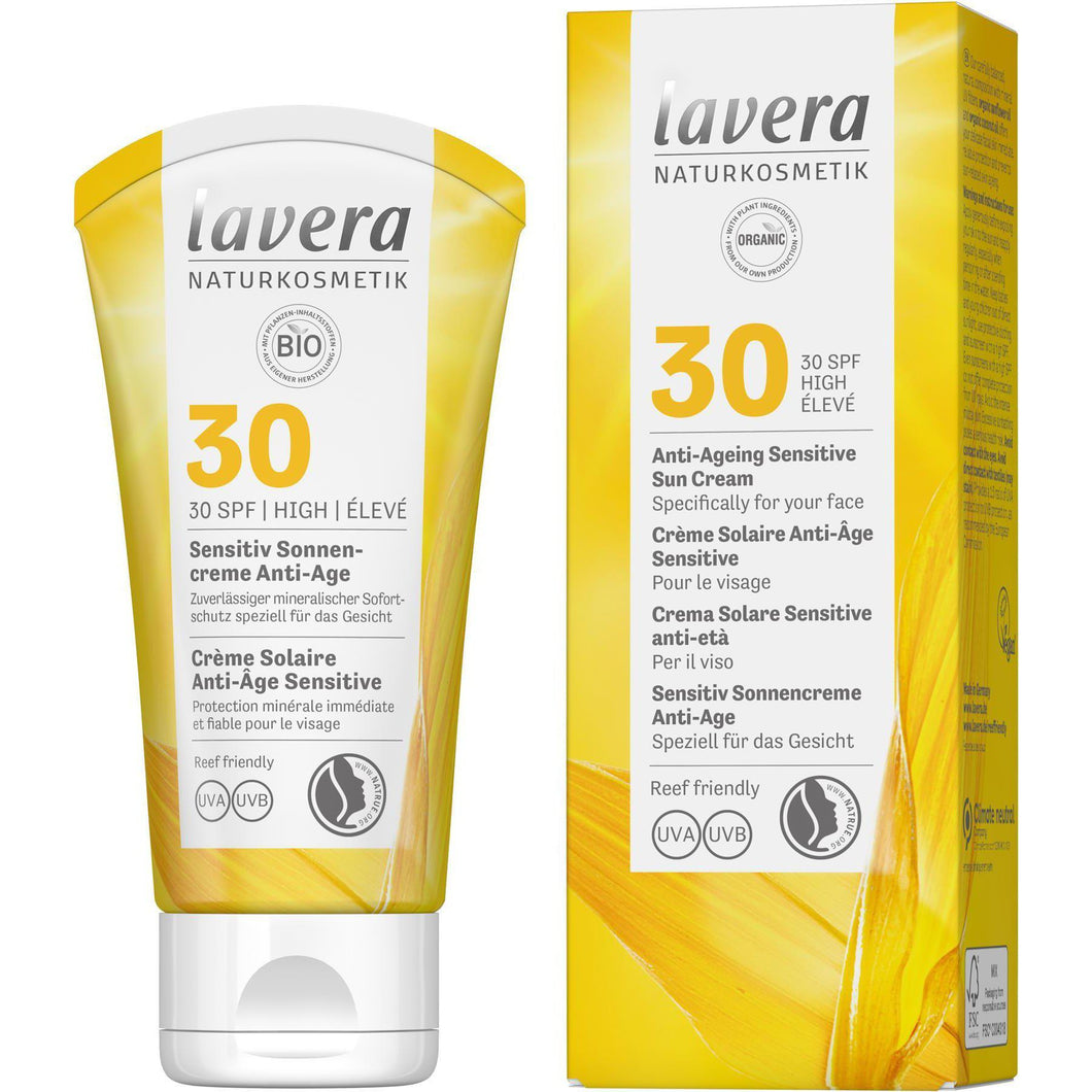 Lavera Anti Ageing Sensitive Suncream SPF30 with Organic Oils 50ml-Just Beauty Organics Store
