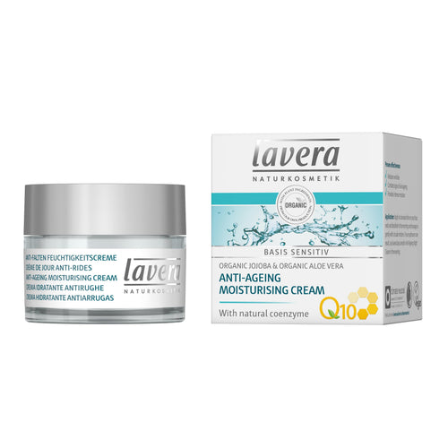 Lavera Basis Anti Ageing Moisturising Cream with Q10 50ml - Organic Jojoba & Aloe Vera-Just Beauty Organics Store