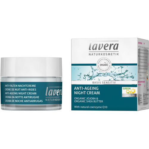 Lavera Basis Anti Ageing Night Cream with Q10 50ml - Organic Jojoba & Shea Butter-Just Beauty Organics Store
