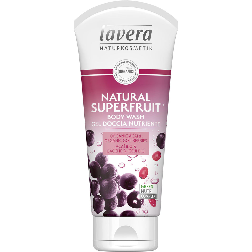 Lavera Natural Superfruit Body Wash 200ml - Organic Acai & Goji-Just Beauty Organics Store