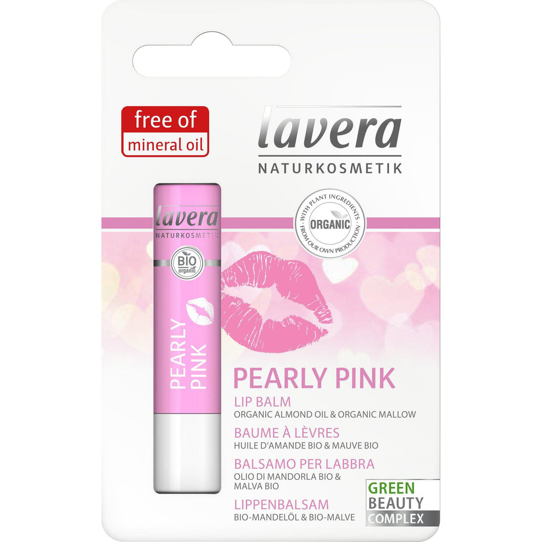Lavera Pearly Pink Lip Balm 4.5g - Organic Almond & Mallow-Just Beauty Organics Store