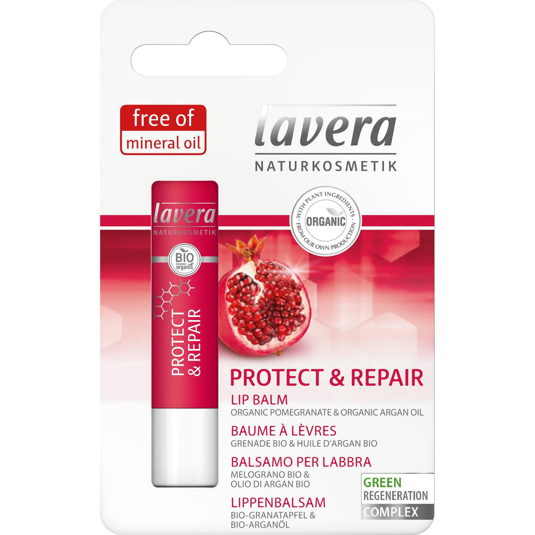 Lavera Protect & Repair Lip Balm 4.5g - Organic Pomegranate & Cocoa Butter-Just Beauty Organics Store