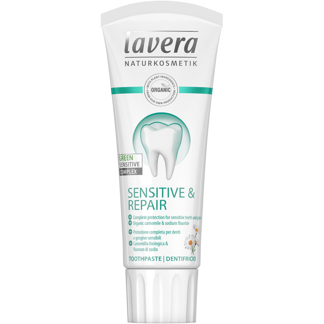 Lavera Sensitive & Repair Toothpaste (fluoride) 75ml - Organic Chamomile-Just Beauty Organics Store