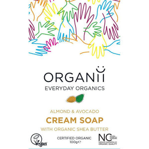 ORGANii Organic Cream Bar Soap - Almond & Avocado 100g-Just Beauty Organics Store
