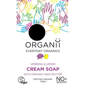 ORGANii Organic Cream Bar Soap - Verbena & Lemon 100g-Just Beauty Organics Store