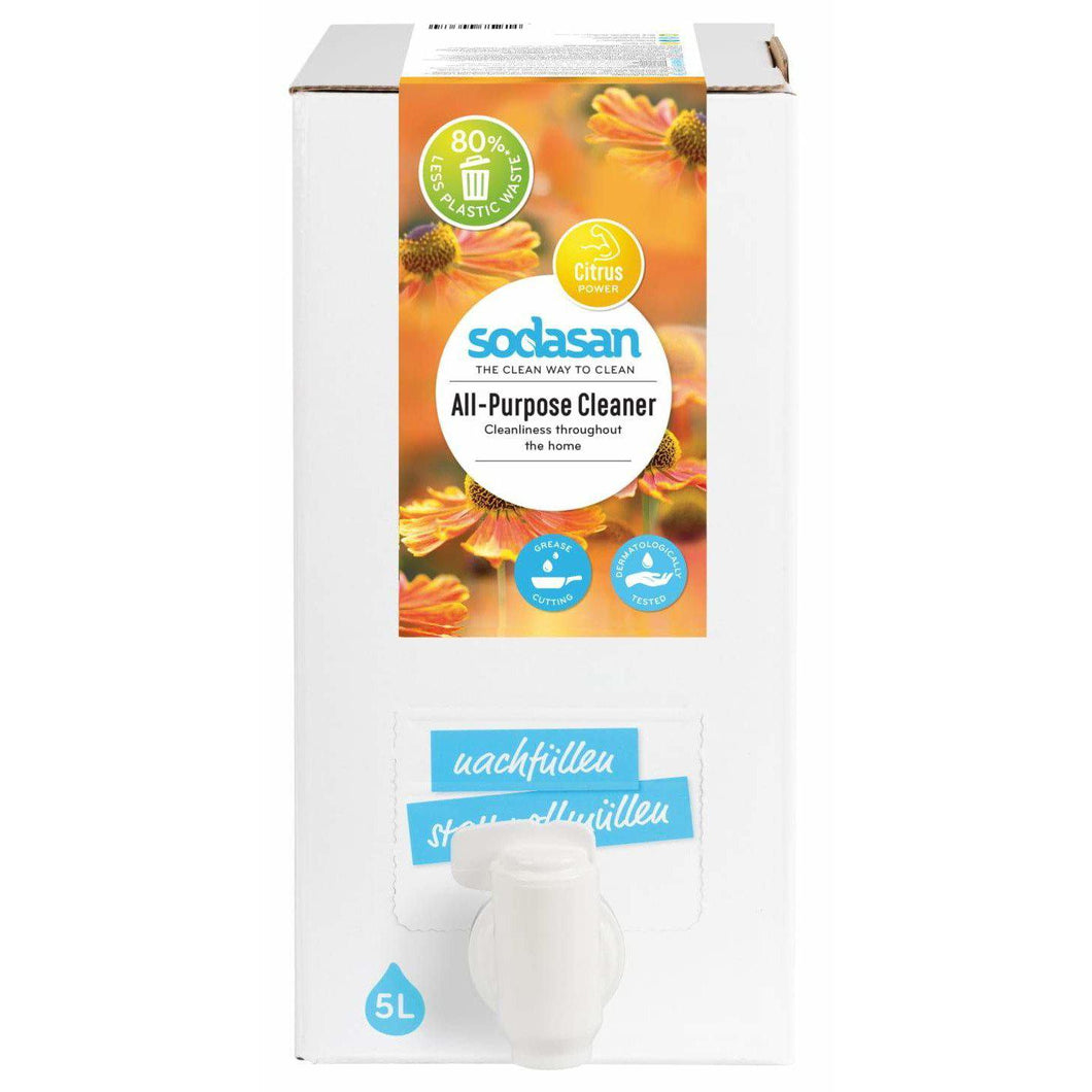 Sodasan All Purpose Cleaner 5 Litre Bag in Box - with organic vegetable oils-Just Beauty Organics Store