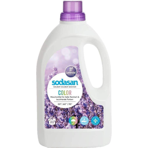 Sodasan Colour Laundry Liquid Lavender 1.5 Litre - with organic vegetable oils-Just Beauty Organics Store