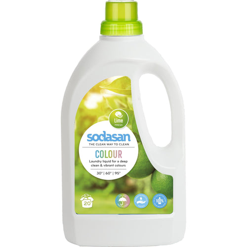 Sodasan Colour Laundry Liquid Lime 1.5 Litre - with organic vegetable oils-Just Beauty Organics Store
