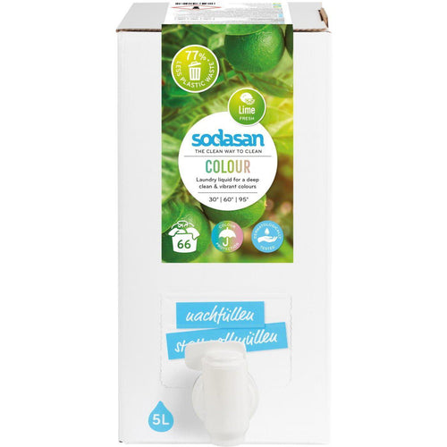 Sodasan Colour Laundry Liquid Lime 5 Litre Bag in Box - with organic vegetable oils-Just Beauty Organics Store