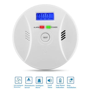2 in 1 Carbon Monoxide Detector Poisoning Smoke Voice Alarm Warning Sensor Security Safety CO Gas Home Carbon Alarm Detector