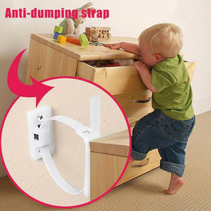 1pc Plastic Furniture Anti-backup Safety Cabinet Anti-rewind Elastic Ropes Strap Child Safety Protection Home Hardware