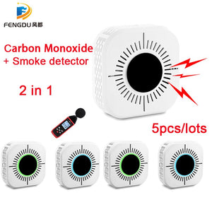 Independent/Wireless 2 in 1 CO Carbon Monoxide Sensors & Smoke detector Compound Fire Alarm Sensor CO Carbon Poisoning Detector
