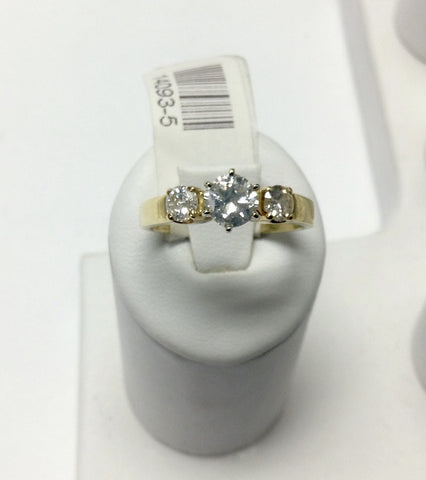 14KT Yellow Gold & Diamond Engagement Ring 3 Stones