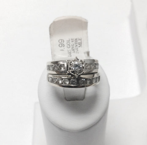 14KT White Gold & Diamond Wedding Band & Engagement Ring Set
