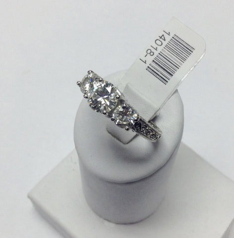 14KT White Gold Engagement Ring With 2 Diamonds & Moissanite Center Stone