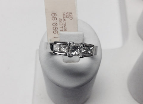 14KT White Gold Princess Cut Diamond Engagement Ring