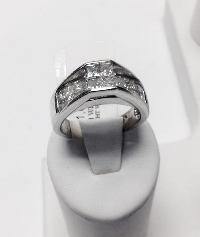 14KT White Gold With Princess Cut Square Diamonds Engagement Ring