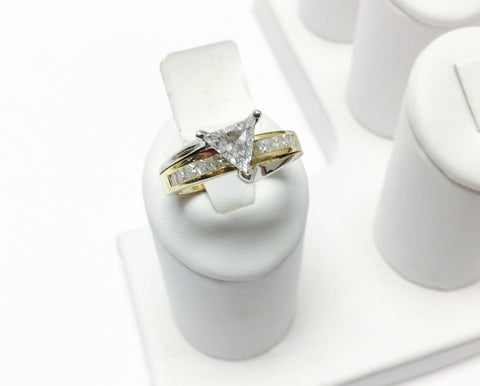 14KT Unique Triangle Trilliant Diamond Engagement Ring Yellow & White Gold