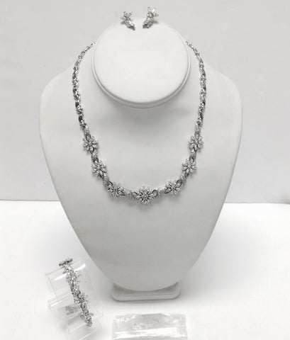 14KT White Gold & Cubic Zirconia Necklace Bracelet & Earrings Set