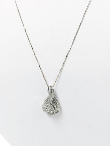 White 14k Gold Necklace w/ Diamond Pendant