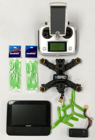 Custom Racer Drone With Portable Monitor & FlySky Remote