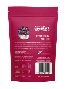 Freeze-Dried Boysenberries paired with White Choc