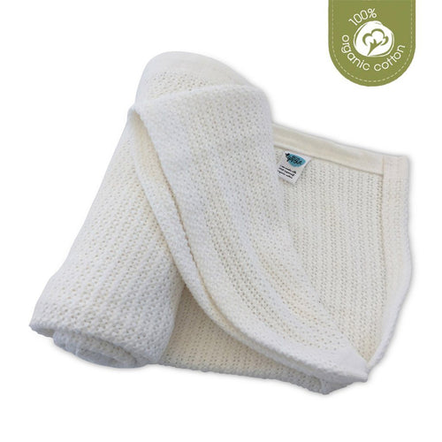 Organic Cotton Cellular Bassinet Blanket - Natural