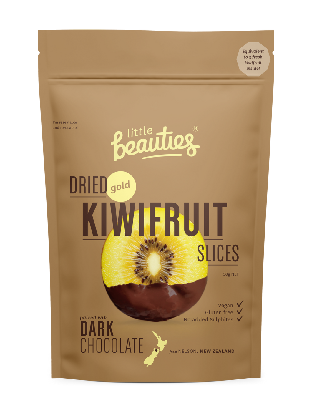 Gold Kiwifruit Slices, air-dried, paired with dark chocolate