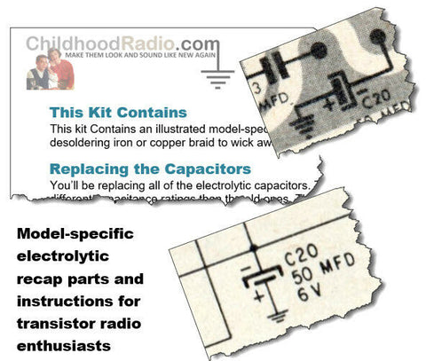 Marvel 8YR-10A Transistor Radio Electrolytic Recap Kit Parts & Documents