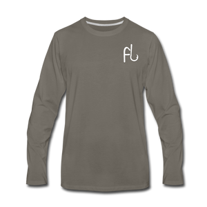 Flip Lures Long Sleeve T-Shirt w/ White Logo - asphalt gray