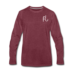 Flip Lures Long Sleeve T-Shirt w/ White Logo - heather burgundy