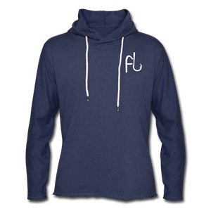 Flip Lures White Logo Unisex Lightweight Terry Hoodie - heather navy
