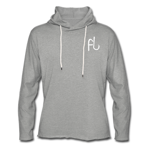 Flip Lures White Logo Unisex Lightweight Terry Hoodie - heather gray