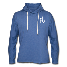 Load image into Gallery viewer, Flip Lures White Logo Unisex Lightweight Terry Hoodie - heather Blue