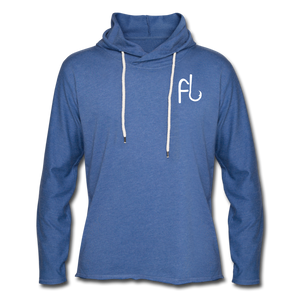 Flip Lures White Logo Unisex Lightweight Terry Hoodie - heather Blue