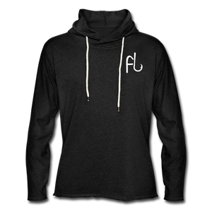 Flip Lures White Logo Unisex Lightweight Terry Hoodie - charcoal gray