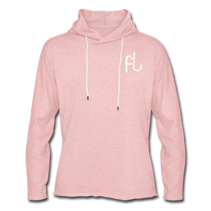 Flip Lures White Logo Unisex Lightweight Terry Hoodie - cream heather pink