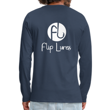Load image into Gallery viewer, Flip Lures White Logo Back and Front Long Sleeve T - navy