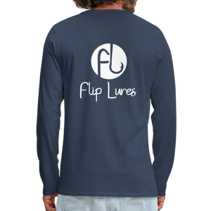 Flip Lures White Logo Back and Front Long Sleeve T - navy